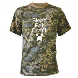 Камуфляжная футболка Sleep,eat, craft - FatLine