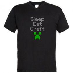 Мужская футболка  с V-образным вырезом Sleep,eat, craft - FatLine