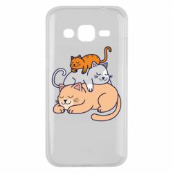 Чехол для Samsung J2 2015 Sleeping cats