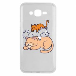 Чехол для Samsung J7 2015 Sleeping cats