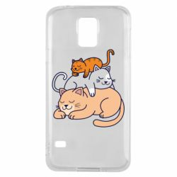Чехол для Samsung S5 Sleeping cats