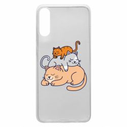 Чехол для Samsung A70 Sleeping cats