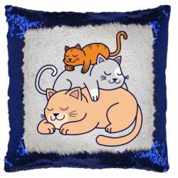 Подушка-хамелеон Sleeping cats