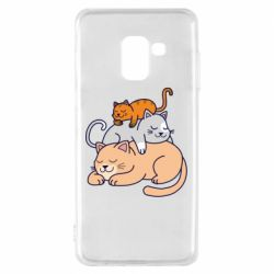 Чехол для Samsung A8 2018 Sleeping cats