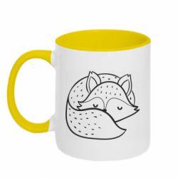 Кружка двоколірна 320ml Sleeping fox