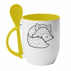 Кружка з керамічною ложкою Sleeping fox