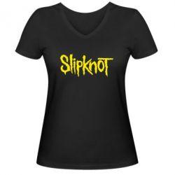 Женская футболка с V-образным вырезом Slipknot - FatLine