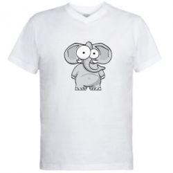 Мужская футболка  с V-образным вырезом Слон глазастый