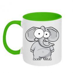 Кружка двухцветная Слон глазастый