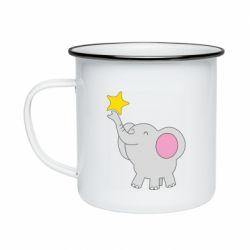 Кружка емальована Слон із зірочкою