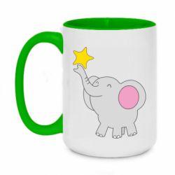Кружка двоколірна 420ml Слон із зірочкою