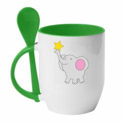 Кружка з керамічною ложкою Слон із зірочкою
