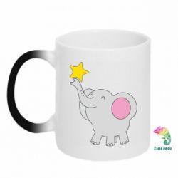 Кружка-хамелеон Слон із зірочкою