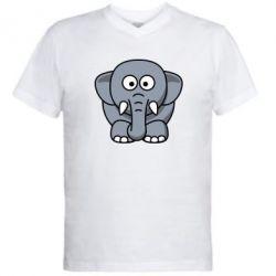 Мужская футболка  с V-образным вырезом Слоник - FatLine