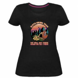 Женская стрейчевая футболка Sloth Hiking Team We Will Get There When We Get There