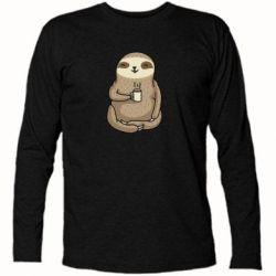 Футболка з довгим рукавом Sloth loves coffee