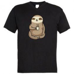Чоловіча футболка з V-подібним вирізом Sloth loves coffee