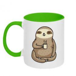 Кружка двоколірна 320ml Sloth loves coffee
