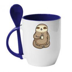 Кружка з керамічною ложкою Sloth loves coffee