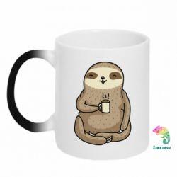 Кружка-хамелеон Sloth loves coffee