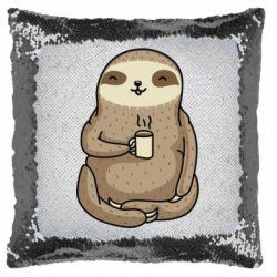 Подушка-хамелеон Sloth loves coffee