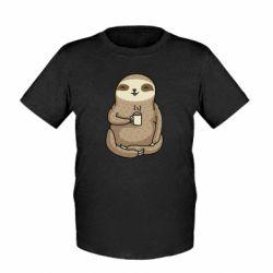 Детская футболка Sloth loves coffee