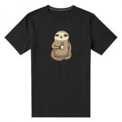 Чоловіча стрейчева футболка Sloth loves coffee