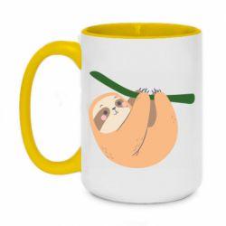 Кружка двухцветная 420ml Sloth on a branch