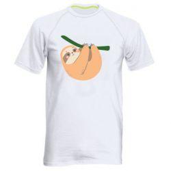 Мужская спортивная футболка Sloth on a branch
