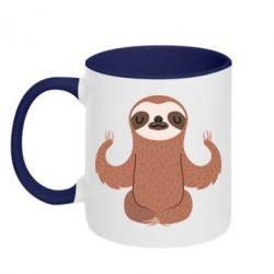 Кружка двухцветная Sloth Yogi