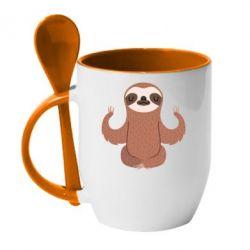 Кружка с керамической ложкой Sloth Yogi