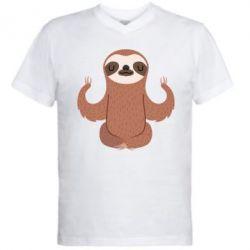 Купить Мужская футболка с V-образным вырезом Sloth Yogi, FatLine