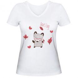Купить Женская футболка с V-образным вырезом Smart foxy, FatLine
