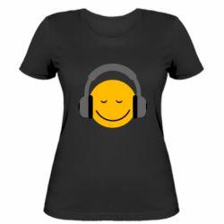 Женская футболка Smile in the headphones