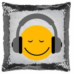Подушка-хамелеон Smile in the headphones