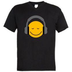 Мужская футболка  с V-образным вырезом Smile in the headphones