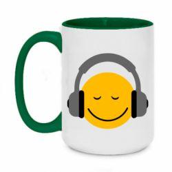 Кружка двухцветная 420ml Smile in the headphones