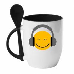 Кружка с керамической ложкой Smile in the headphones