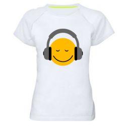 Женская спортивная футболка Smile in the headphones