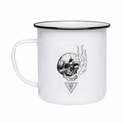 Кружка емальована Smoke from the skull