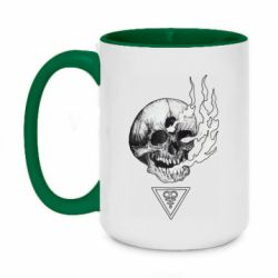 Кружка двоколірна 420ml Smoke from the skull