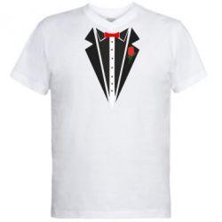 Мужская футболка  с V-образным вырезом Смокинг с бабочкой и розой - FatLine