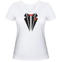 Женская футболка с V-образным вырезом Смокинг с бабочкой и розой - FatLine
