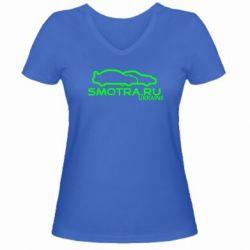 Женская футболка с V-образным вырезом Smotra UA - FatLine