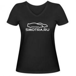 Женская футболка с V-образным вырезом Smotra.ru - FatLine