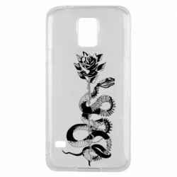 Чохол для Samsung S5 Snake and rose