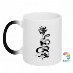 Кружка-хамелеон Snake and rose