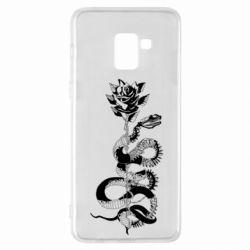 Чохол для Samsung A8+ 2018 Snake and rose