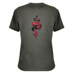 Камуфляжна футболка Snake and roses