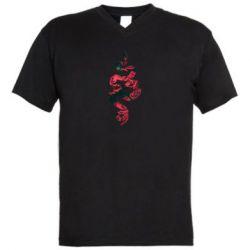 Чоловіча футболка з V-подібним вирізом Snake and roses